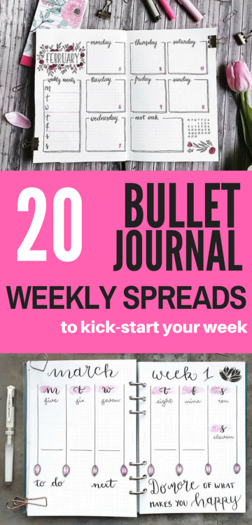 These talented bullet journalists know how to create weekly spreads that keep you organized and kick-start productivity! Check them out for 20 excellent spread ideas.