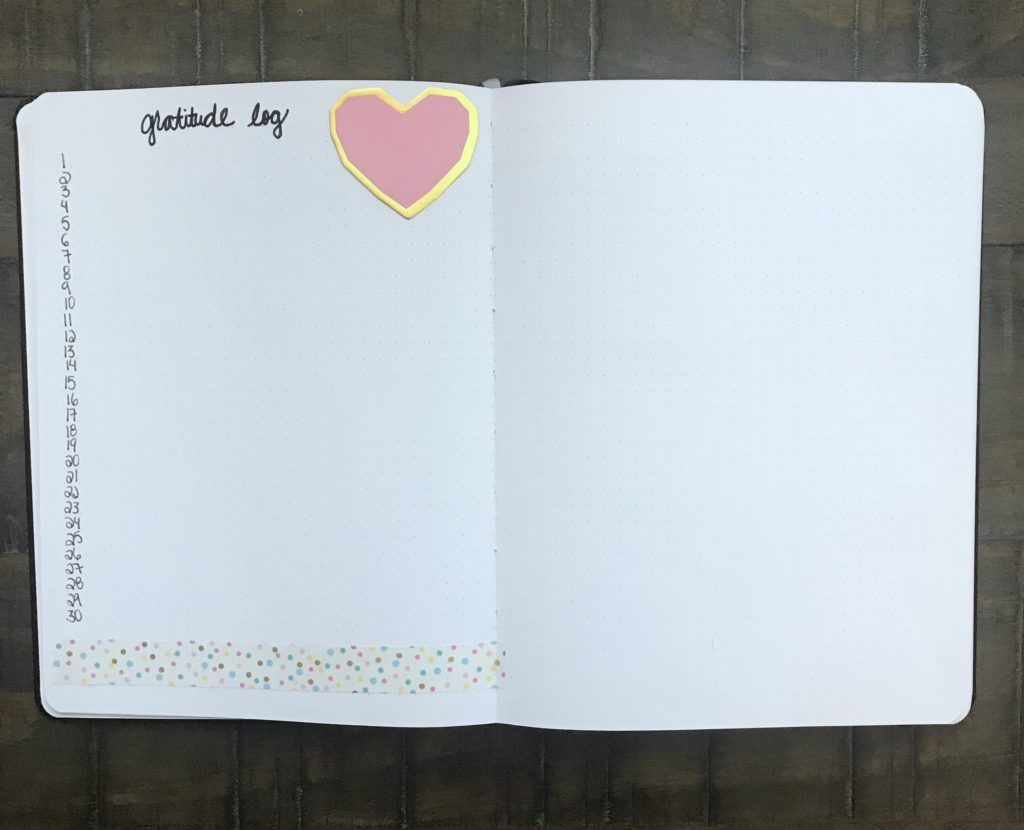 Learn to be thankful for the little things by using a gratitude log in your bullet journal! This monthly layout if a wonderful bullet journal idea!