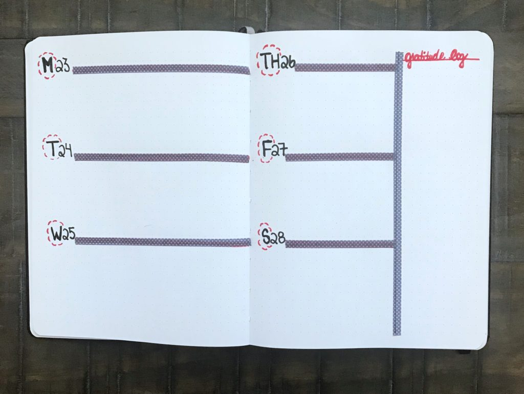This weekly log incorporates a gratitude log and reminds you to jot down what you're thankful for each week. It's an excellent bullet journal idea!