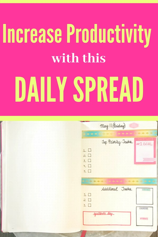 Stay organized and boost productivity with the help of this daily spread! #bulletjournalideas #bulletjournal #bulletjournaldailylayout #bulletjournaldailyspread