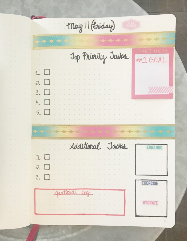 Learn how to create a daily layout in your bullet journal that helps improve your productivity!