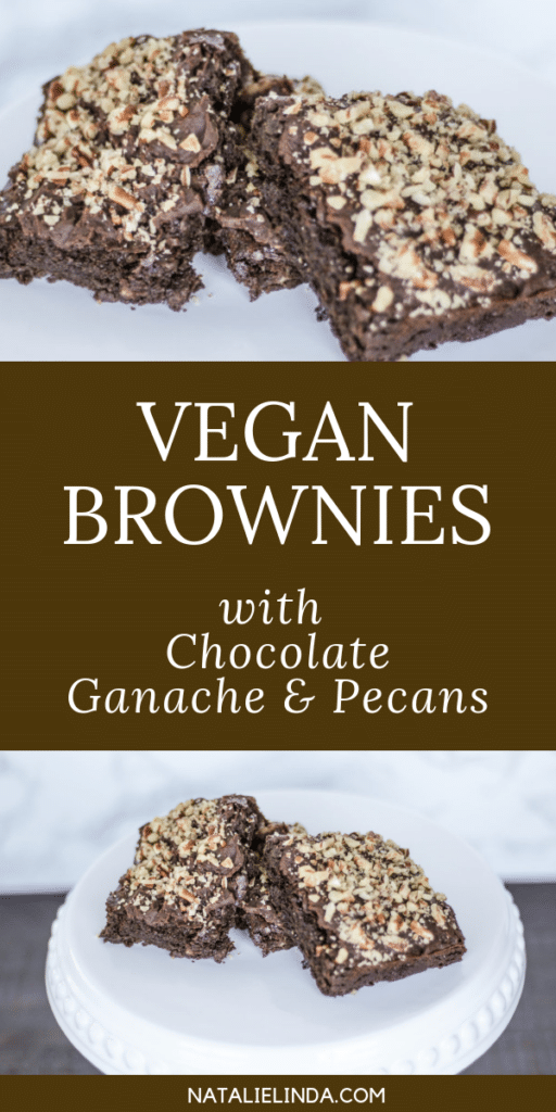 These vegan brownies are full of rich chocolate flavor, delicious vegan ganache, and crunchy pecans! It'll become your favorite vegan brownie recipe!