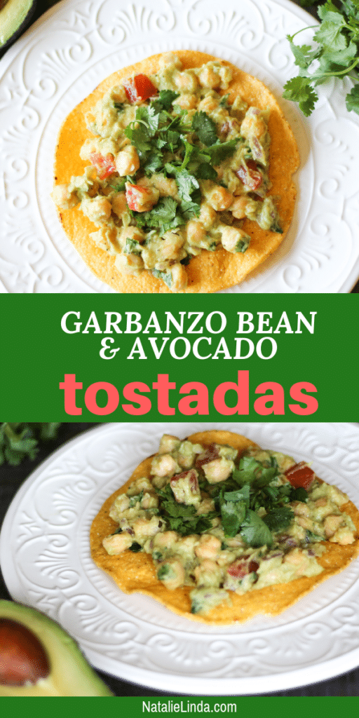 Try these healthy and refreshing garbanzo bean tostadas recipe! They're delicious, vegan, easy-to-make. and full of protein! It'll become a family-favorite vegan meal!